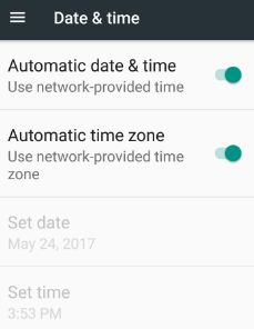 Enable or disable automatic date and time in phone