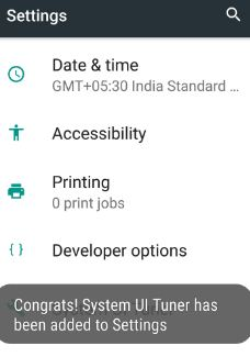 Enable system UI tuner on nougat 7.0 phone