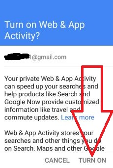 Enable web & app activity in android device