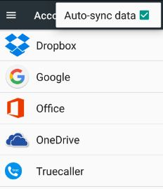 How to enable auto-sync android nougat phone