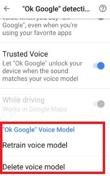 OK Google voice model settings in android 7.0 nougat