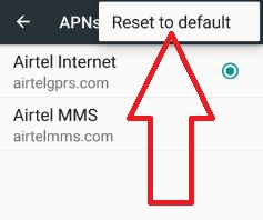 Reset APNs settings in android to fix error 413