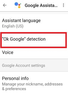 Tap OK Google detection under settings