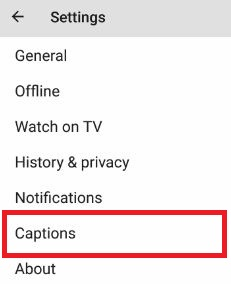 Tap caption to open settings in YouTube