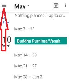 Tap menu in calendar settings