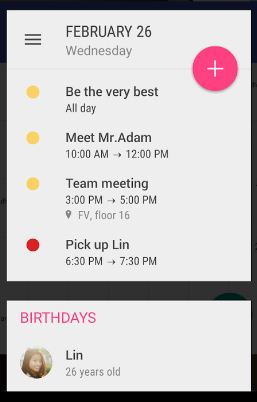 calendar widget app for android device