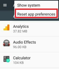 reset app preferences to fix app has stopped working in android