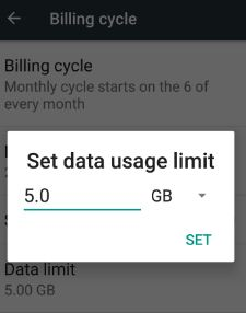 set data usage limit on Samsung Galaxy S8 phone