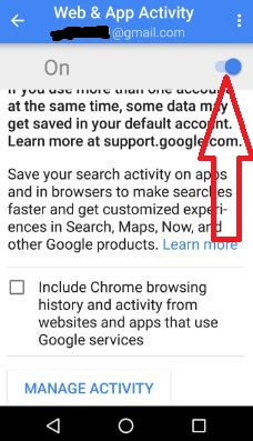 turn on web and app activity android phone