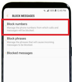 Block number on samsung galaxy S8 and galaxy S8 plus