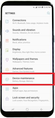 Device maintenance in galaxy S8 phone