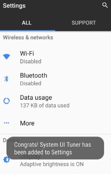 Hidden system UI tuner on android O OS
