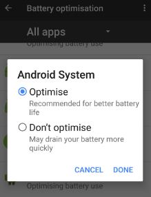 Optimise app for bettery battery life on Google pixel