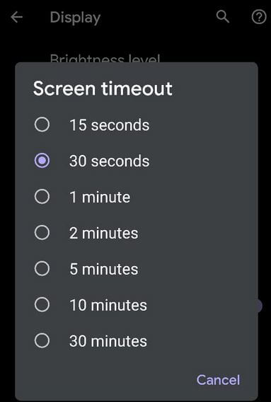 Set Screen Timeout to improve battery life on Google Pixel