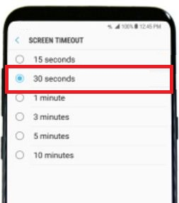 Set screen timeout on galaxy S8
