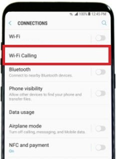 Tap Wi-Fi calling under connection in galaxy S8