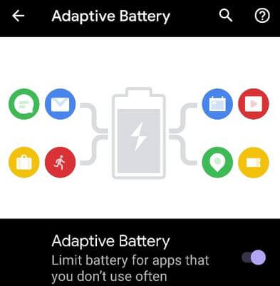 Turn On Adaptive Battery to extend battery life Google Pixel