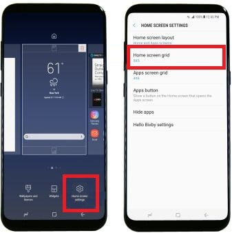 change screen Grid on galaxy S8 & galaxy S8 plus