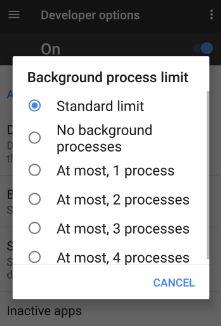 set background process limit on Google pixel phone