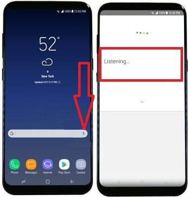 use voice control on galaxy S8 device
