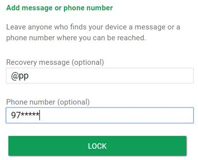Add message or phone number to unlock your pixel phone