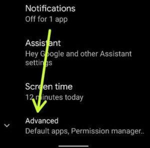 Advanced settings for change default apps Google Pixel