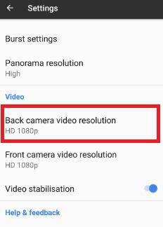 Backup camera video resolution in Google Pixel phone