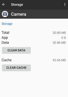 Clear cache and data of camera app to fix pixel camera not working issue