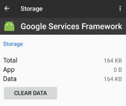 Clear data of Google Service framework in android