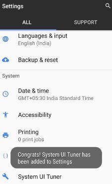 Enable hidden system UI tuner in pixel XL phone