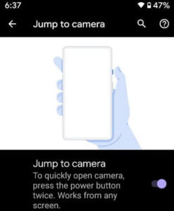 Jump to camera feature of Google Pixel