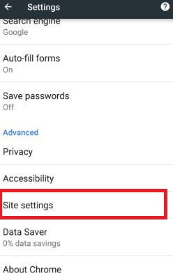 Site settings under advanced section in chrome