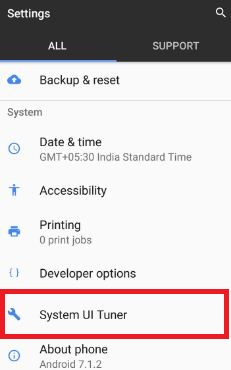 System UI tuner under system settings in pixel