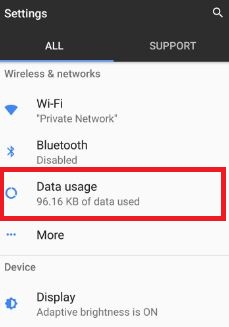 Tap on data usage under wireless & network section in pixel device