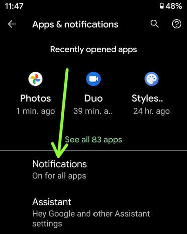 Turn off notifications for certain apps in Google Pixel XL