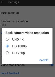capture 4k video in Google Pixel phone