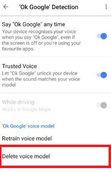 Delete Voice model on Pixel and Pixel XL phone