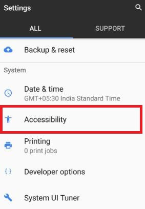 Accessibility settings under system section in pixel devices