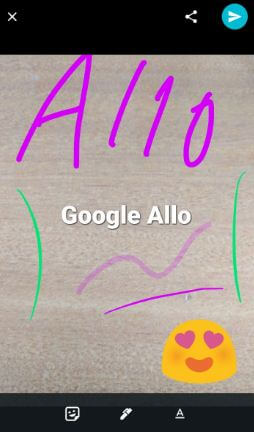 Add stickers and different color text on photo using allo