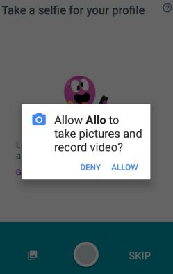 Allow Allo to take pictures and record video on android