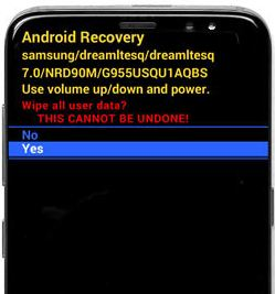 Android recovery screen on Samsung galaxy S8