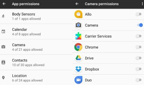 App permission on pixel and android phone