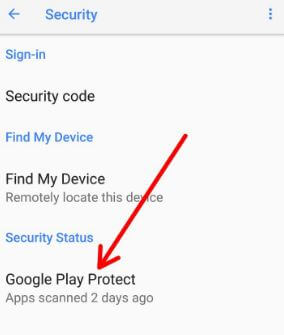 Enable Google Play protect on your android phone Oreo