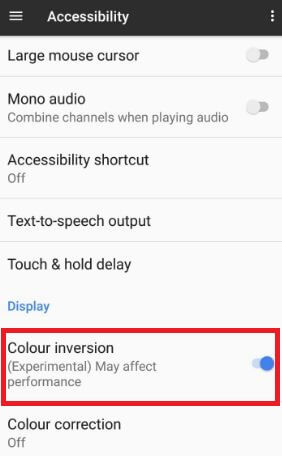 Enable color inversion on android phone