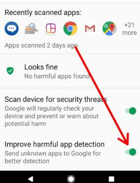 Enable harmful app detection on android Oreo