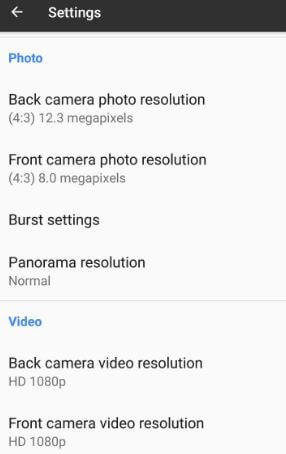 Google Pixel photo and video resolution settings