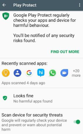Google Play protect on Android 8.0 Oreo
