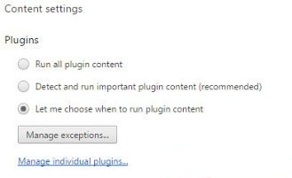 Manage individual plugins settings in Google Chrome