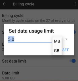 Set data usage limit on Google Pixel phone