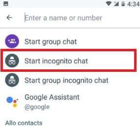 Start incognito chat